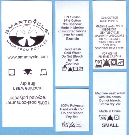 Care Label Symbology On Your Printed Fabric Label Or Woven Label