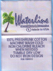 Woven label with RN RN numbers on clothing labels , woven labels, clothing tags