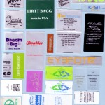 Multi Color Satin Synthetic TPU Printed Clothing Labels 150x150 Printed Fabric Labels & Tagless Heat Transfers , woven labels, clothing tags