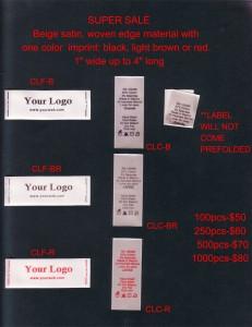 Beige satin printed labels