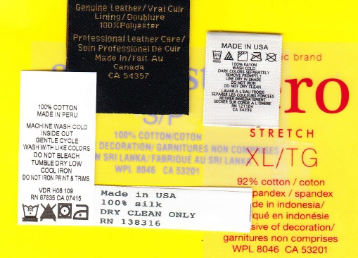 RN numbers and CA Identification numbers on clothing labels