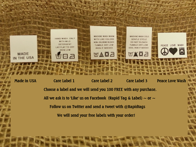 freelabels Limited time offer! 100 free with any purchase. , woven labels, clothing tags