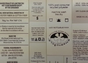 RN numbers, fiber content, Country of Origin and care symbols on clothing labels
