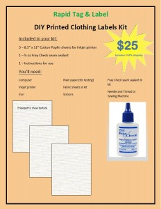DIY Printed Clothing Label Kit