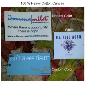 NaturalCanvasPrinted001 300x293 4 Options for Natural Printed Clothes Tags , woven labels, clothing tags