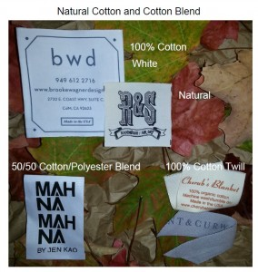 Natural Cotton and Cotton Blend Printed Clothes Tags